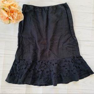 NWT Fresh Produce Black Linen Skirt